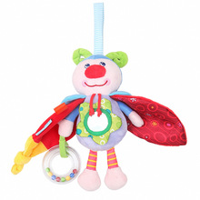 New cute cartoon insect doll pendant baby plush sound paper safety mirror toy newborn PP cotton soft suitable for 0M+