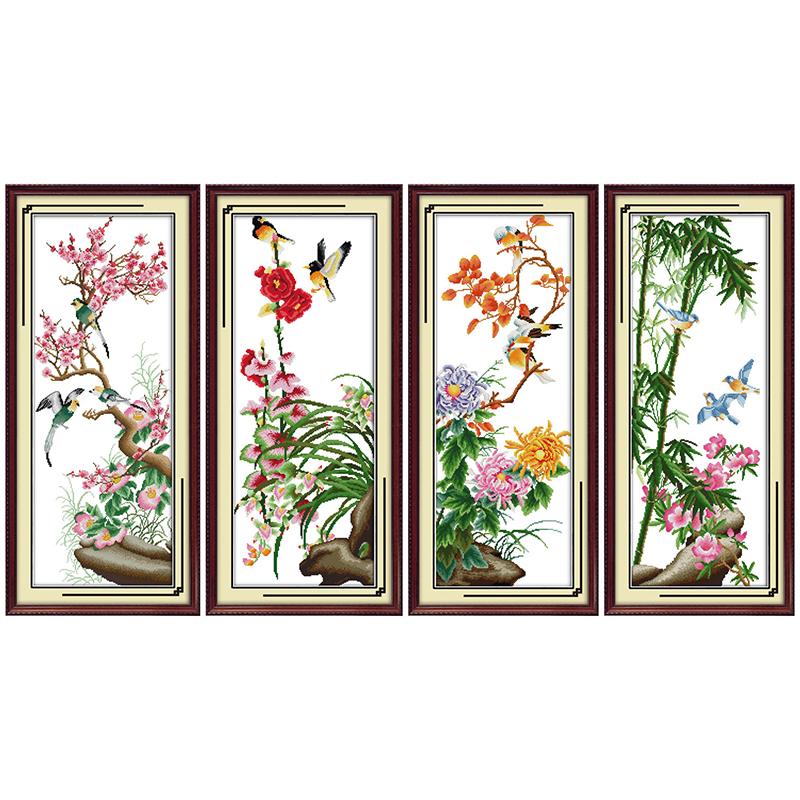 Everlasting love Christmas Red plum Pink orchid Yellow chrysanthemum Green bamboo Ecological cotton Cross Stitch 11CT and 14CT