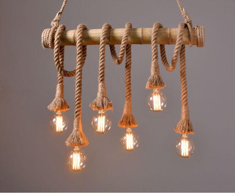 Здесь продается  Vintage Rope Pendant Light Lamp Loft Creative Personality Industrial Lamp Edison Bulb American Style For Living Room  Свет и освещение