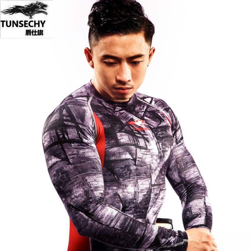 Men Compression ShirtsTUNSECHY brand Keep Fit Fitness Long Sleeves Base Layer Skin Tight Weight Lifting Elastic Mens T Shirts