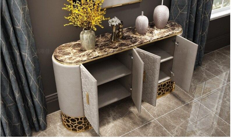 1,8 м длинный консольный стол с кожаной обивкой/коричневый мраморный стол/80 см высокий металлический каркас