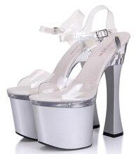 Women Shoes New Female Sandals Plus-size 35-44 Pumps Sexy 20cm Super High-Heeled Transparent Waterproof Platform Catwalk