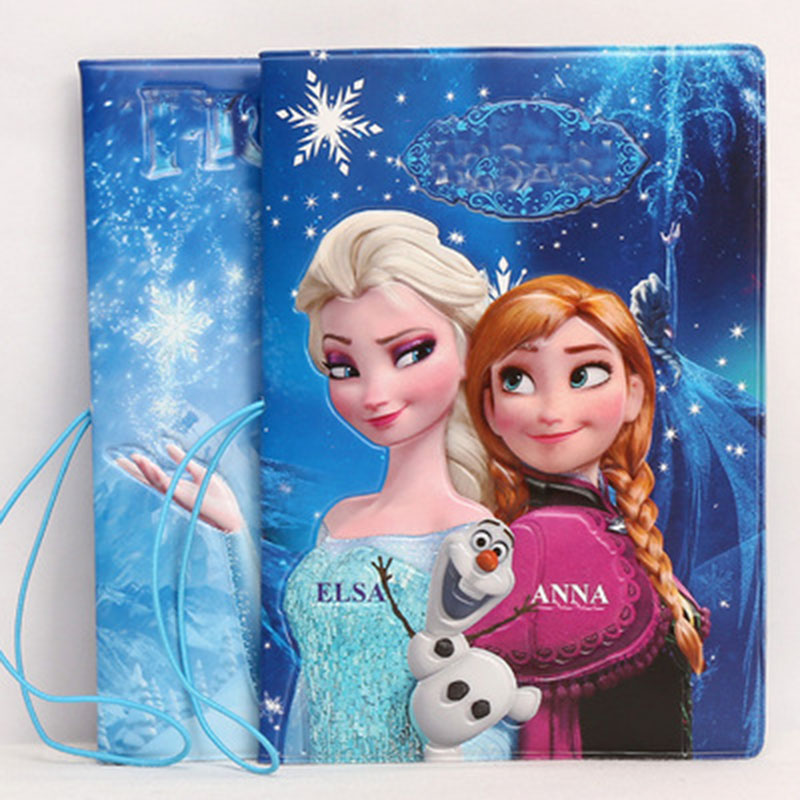 2018 New Fashion Elsa Anna C PVC Passport Cover ID Credit Card Bag 3D Design PU Leather Passport Holder Bag 14*9.6CM 3d design vintage world trip passport cover id credit card bag pvc leather passport holder 14 9 6cm