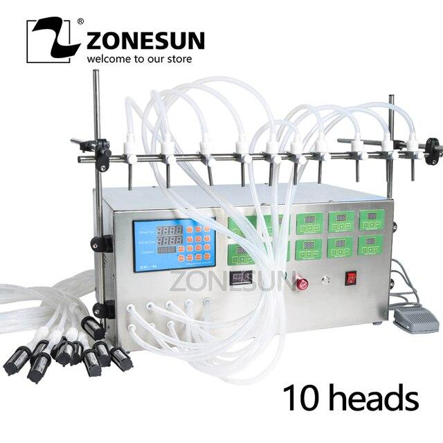 ZONESUN Electric Digital Control Pump Liquid Perfume Water Juice Essential Oil With 10 Heads Filling Machine 0.5-4000ml