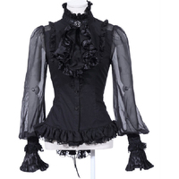 Historical Victorian Noble's Blouse Gothic Women's Blouse Shirt BLACK with Jabot 21094BK