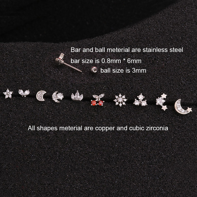 Feelgood Cz Moon Star Flower Tiny Cartilage Earring Small Cartilage Stud Ear Helix Piercing Jewelry 1