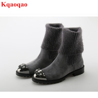 Crystal Embellished Metal Toe Women Sock Boots Short Booties Low Heel Mid calf Boots Luxury Brand Star Runway Winter Warm Shoes