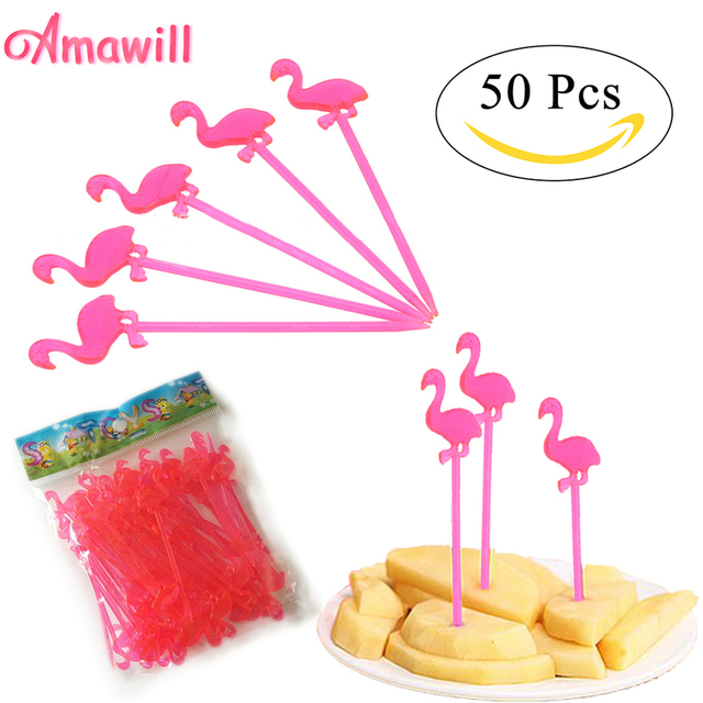 Amawill 50pcs Flamingo Fruit Picks Sticks Cupcake Toppers Birthday Foods Decorations Tropical Hawaiian Luau Party Supplies 65D