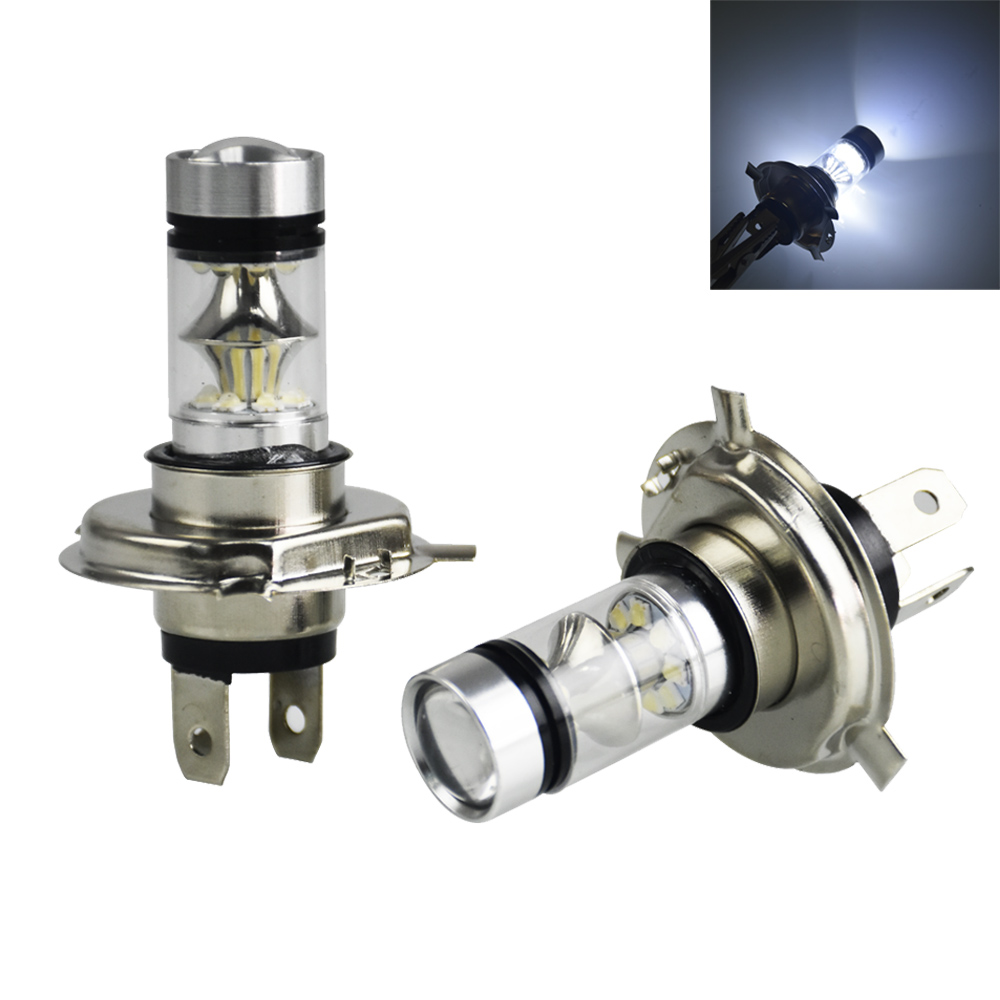 2PCS Car Led H4 Fog Lights White 100W Bulbs 20 SMD Car Headlights DC12V 24V Lamp For Audi A4 B5 B6 B8 A6 C5 C6 A3 A5 Q3 Q5 2x no errors xenon white 50w p13w c ree led bulbs drl for 2008 12 audi b8 model a4 or s4 with halogen headlight trims