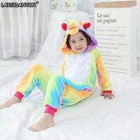 LAISIDANTON Kids Rainbow Unicorn Pajamas Winter Hooded Homewear Unicornio Anime Cartoon Costumes Animal Pyjamas Nightgown Girls