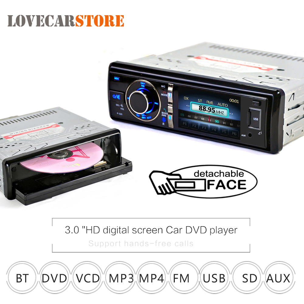 3 Inch 1 Din Bluetooth Auto Car DVD Player Digital Touch Screen with Microphone Detachable Front Panel Support DVD CD SD USB AUX 9 inch car headrest mount dvd player digital multimedia player hdmi 800 x 480 lcd screen audio video usb speaker remote control