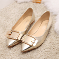NEW 2015 Hot Sale Women Pointed Toe PU Leather Shoes women Vintage Style autumn Slip-on Flats Patent Leather Shoes Size 35-39