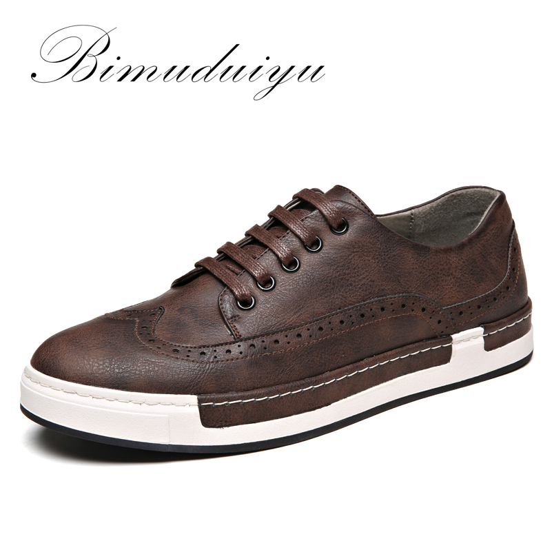 BIMUDUIYU Luxury Brand Leather Shoes Flats Sneakers PU leather Bullock Men Casual Shoes British Lace-Up Oxford Shoes For Men samool men s leather oxford shoes casual shoes for men round toe flats shoes lace up driving shoes khaki leather casual shoes