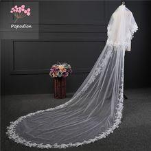 اكسسوارات الزفاف 3 متر أحمر الخدود طرحة زفاف طويلة طرحة زفاف حجاب الزفاف للعروس مع مشط WAS10072