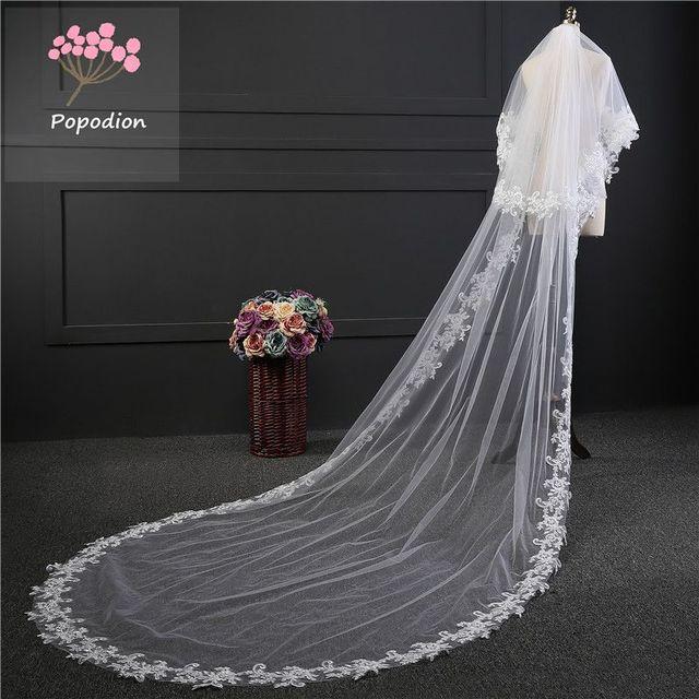 wedding accessories 3 meter blusher wedding veil long wedding veil bridal veils  veils for bride with comb WAS10072