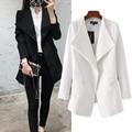 Europe autumn 2016 new women's fashion color all-match draped slim Lapel Blazer blouse