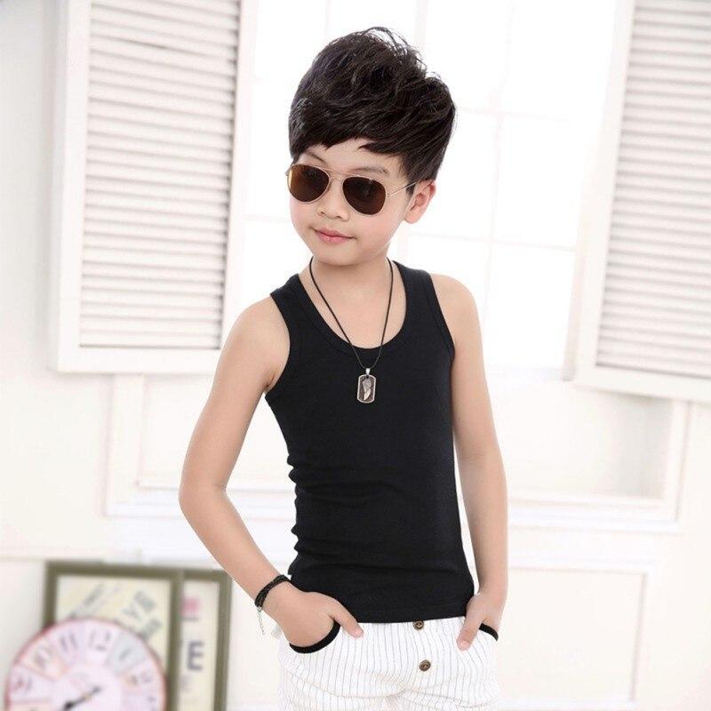 Summer Kids Clothing Boys Girls Unisex Casual Cotton Solid Color Vest Children Vest