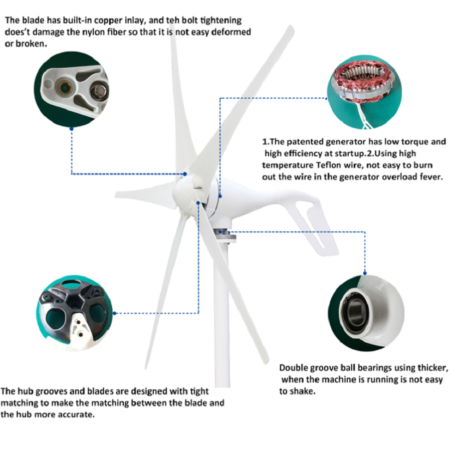 aliexpress com buy horizontal wind turbine including 600w charge controller wind generator five blades 1 5m s low start up wind speed wind power from  [ 900 x 900 Pixel ]