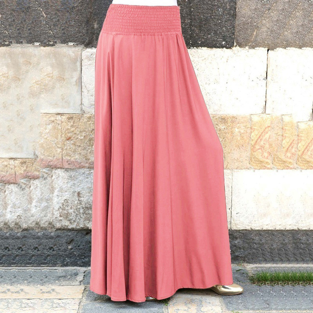 Skirts Womens Pleated A-Line Elastic-Waist Loose Vintage Moda Fashion Mujer Solid Faldas title=