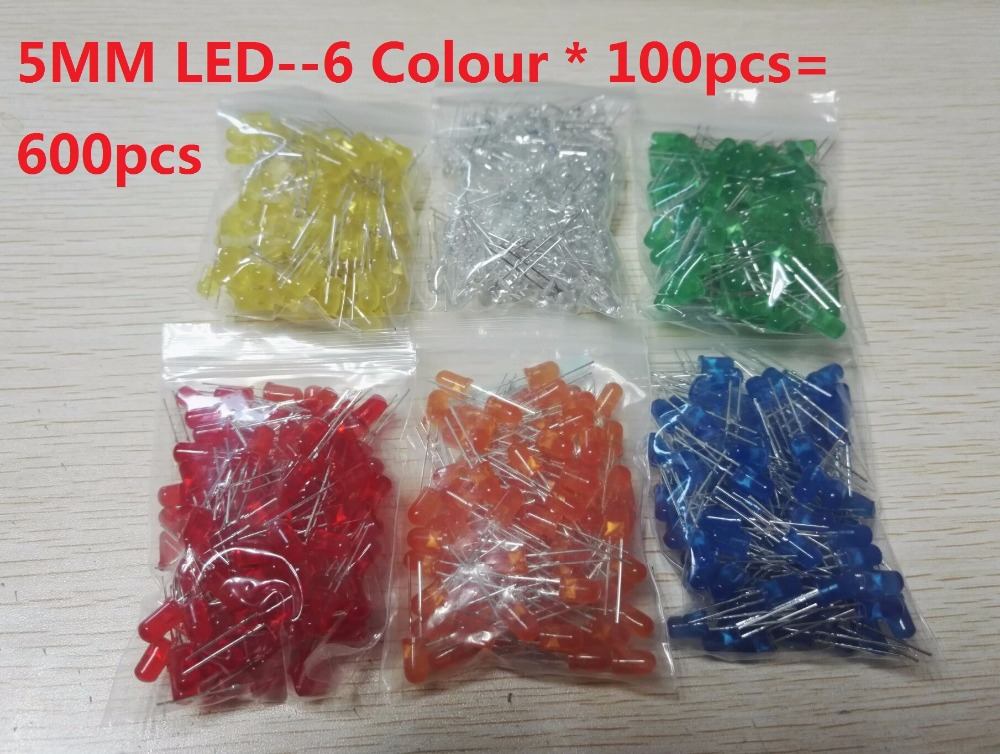 600pcs=6 Colors*100pcs White Red Green Blue Yellow Orange 5mm LED Kits F5 Diffused Light Emitting Diode Lamp Assorted Kit Set