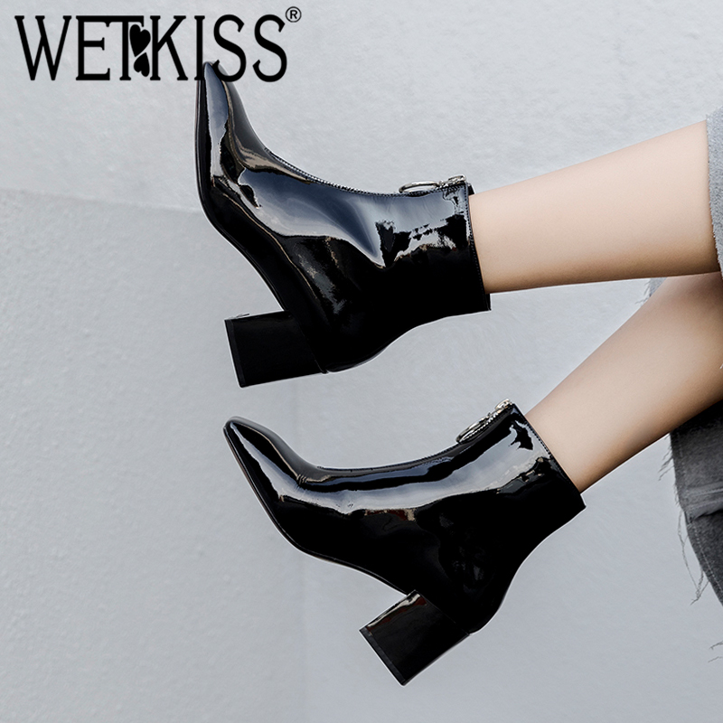 WETKISS Patent Leather Women Ankle Boots Square Toe Rubber Footwear High Heels Female Boot Zip Shoes Woman 2018 Winter Black wetkiss genuine leather ankle boots women patent square toe zipper female boot autumn thick high heels winter boots woman shoes