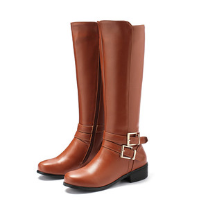 Image 3 - MORAZORA 2020 new fashion shoes woman round toe zipper autumn winter boots square heels solid colors knee high boots women