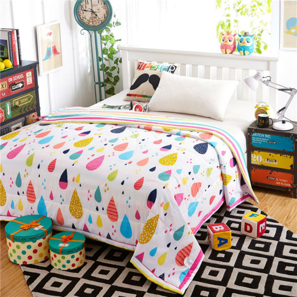 Colorful Quilts Raindrop Cotton Blanket Feather Filled
