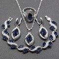 4 PCS Originais Das Mulheres Conjuntos de Jóias de Prata Esterlina 925 Azul Criado Sapphire Colar Pingente Brinco Pulseira Anel Dom Gratuito JS58
