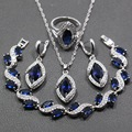 4PCS Unique Women Jewelry Sets 925 Sterling Silver Blue Created Sapphire Earring Pendant Necklace Bracelet Ring Free Gift JS58