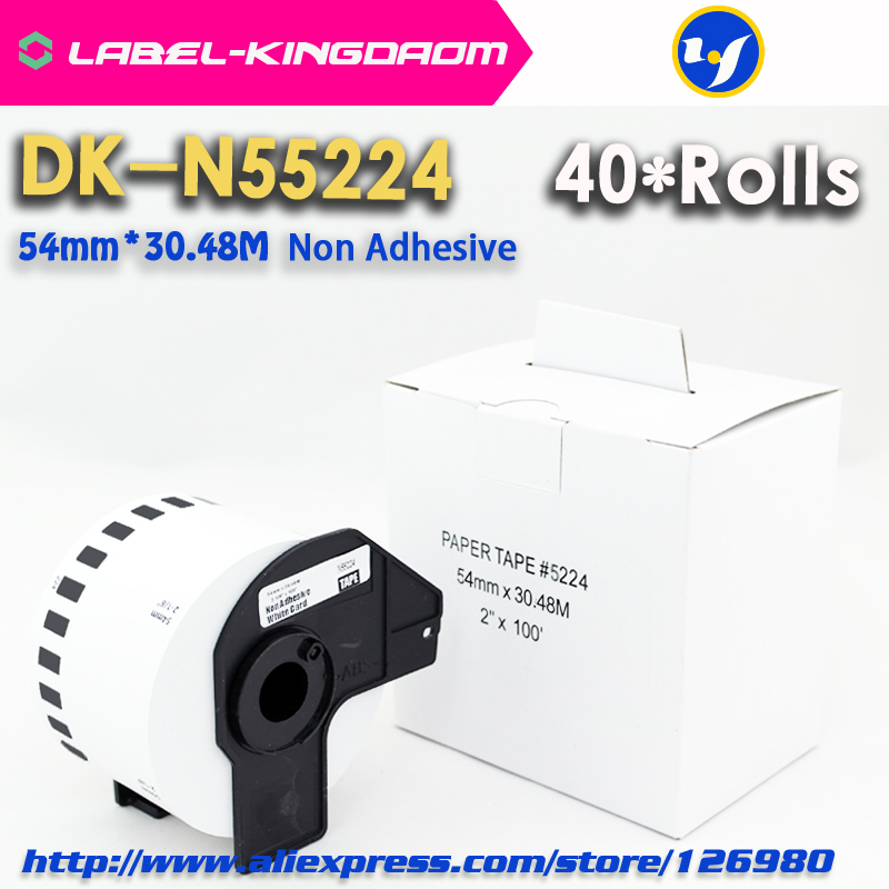 40 Rolls Generic DK N55224 Label Non Adhesive 54mm 30 48M Compatible for Brother Printer QL