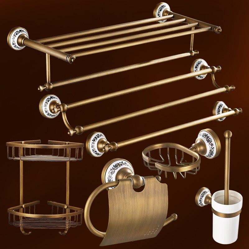 Antique Solid Brass Bath Hardware Sets Wall Mounted Bathroom Accessories Set Bronze Ceramic Base