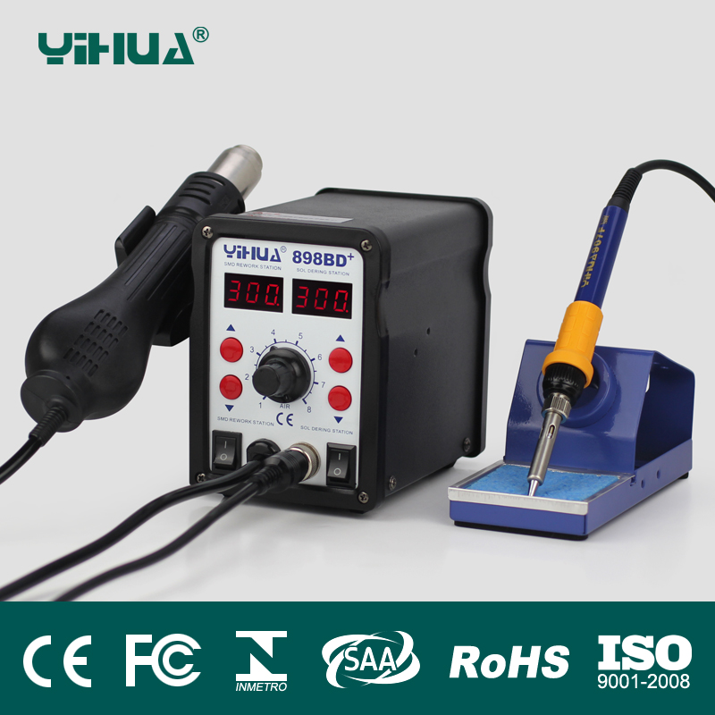 цена на YIHUA 898BD+ 2 in 1 Digital Display Hot Air Desoldering Station Electric Iron Heat Gun improve from 878 and 898 series.