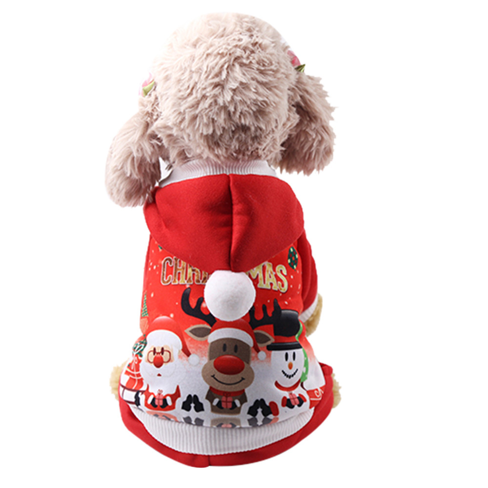 Christmas Pet Dog Clothes Winter Comfortable Soft Hoodied Sweatshirts Print Christmas Pattern Clothing  For Dogs Pets