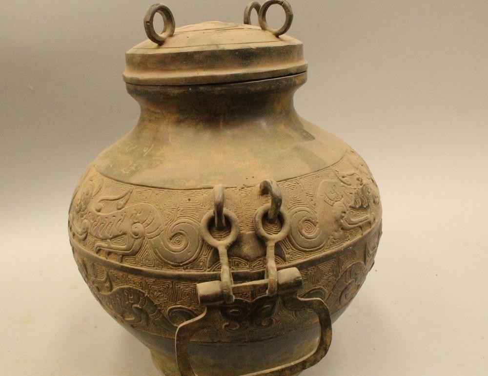 10archaic China Chinese Dynasty Fa Bronze Dragon Beast Classic Pot