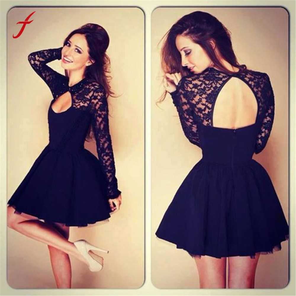 Detail Feedback Questions about Feitong vestido de festa robe femme 2019 Women  Sexy Floral Lace Dress Long Sleeve Backless Party Bandage Bodycon Black  Dress ... 50405dabcba0