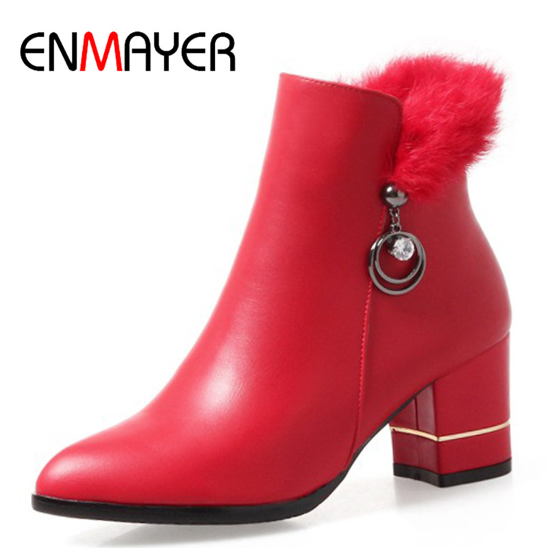ENMAYER Ankle Boots for Women High Heels White Shoes Woman Western Shoes Plus Size 34-43 Zippers Winter Shoes Womens enmayer high heels pointed toe western boots shoes woman lace up cross tied ankle boots for women wedges plus size 34 42 womens