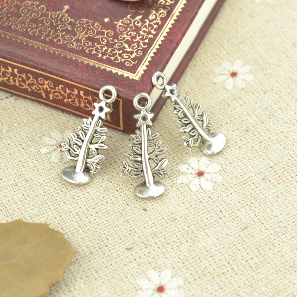30pcs Alloy Tibetan Silver Plated Christmas Tree Charms Pendants For Jewelry Making DIY Handmade Craft 25*12mm 21101