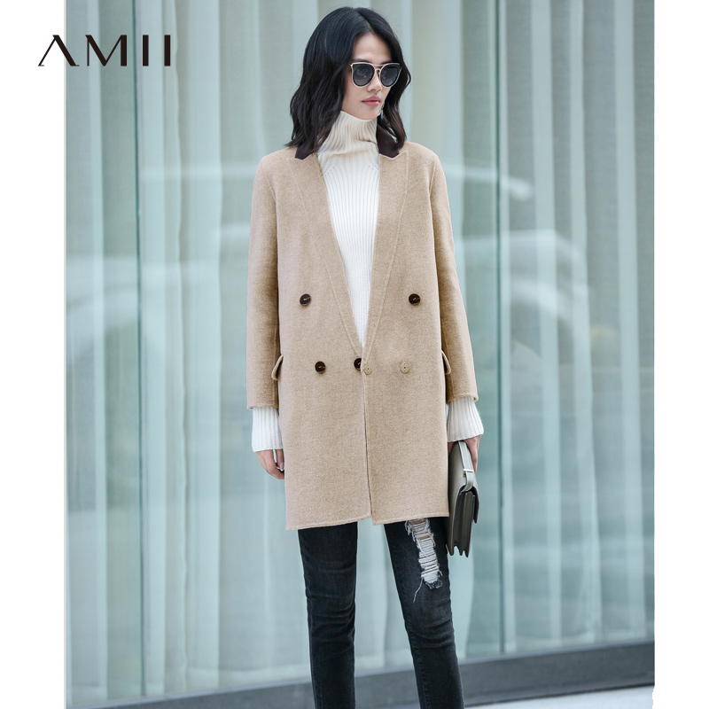 Amii Minimalism Winter 100 Wool Coat Women 2018 Causal Solid Turn down Collar Spliced Elegant Double