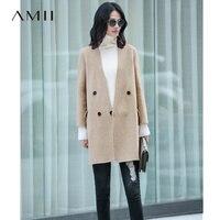 Amii минимализм зима 100% шерстяное пальто женское 2018 повседневное одноцветное Turn-Down Воротник сращены элегантный двойной размер шерстяное пал...