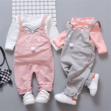 Fashion Cute Girls Outfits Children Cartoon Clothing Sets Baby T-shirt Overalls 2Pcs/sets Spring Summer Infants Tracksuits коптильня kukmara 35 25 18 см