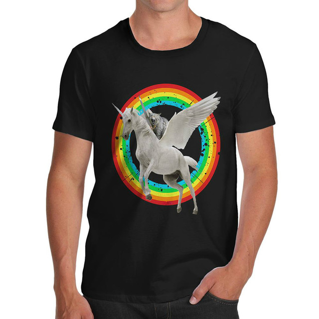 7ebbccd29 Pure Cotton High Quality Novelty Graphic Sarcasm Funny T-Shirt Cat Riding  Flying Unicorn Men's T-Shirt size S-3XL