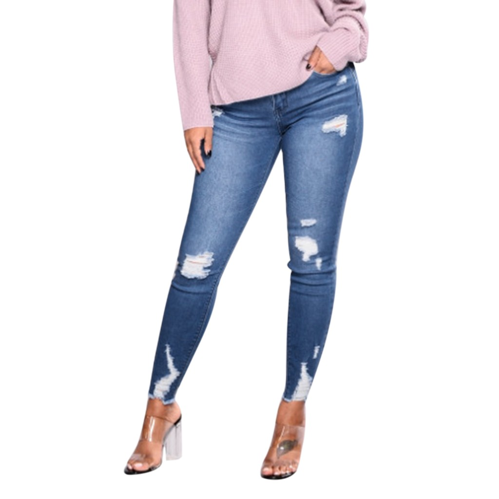 CHAMSGEND Fashion Women Stretch   Jeans   Female Casual Mid Waist Stretch Slim Sexy Pencil Pants Summer Skinny Zipper Fly Pants Ja23