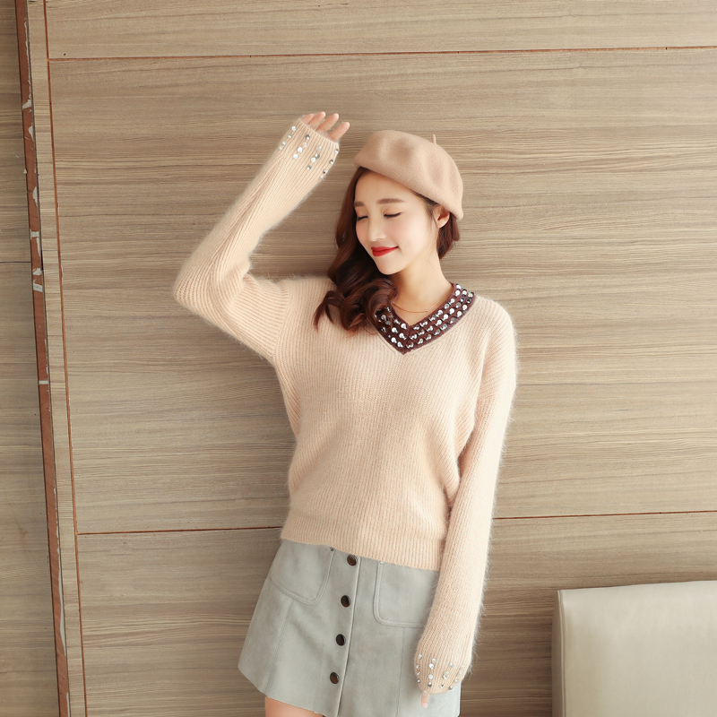 ba1fe6c45a7b Detail Feedback Questions about 6537 V collar sweater Angora sweater ...