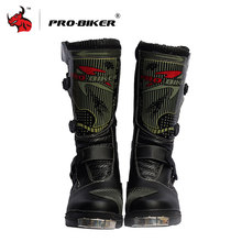 PRO-BIKER SPEED Racing Botas Motocross Botas de Moto Negro Mitad de la Pantorrilla Mircrofiber Leather Botas de Moto de Carreras de Motocross