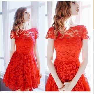 5xlプラスサイズドレスファッション女性エレガント甘いハロウアウトレースのドレスセクシーなパーティー王女スリム夏のドレスvestidosレッドブルー