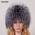 Winter Fur Hats for Girls Genuine Fox Fur Knitted Cap Silver Fox Fur Caps Female Russian Bomer Hats Women's Winter Hats