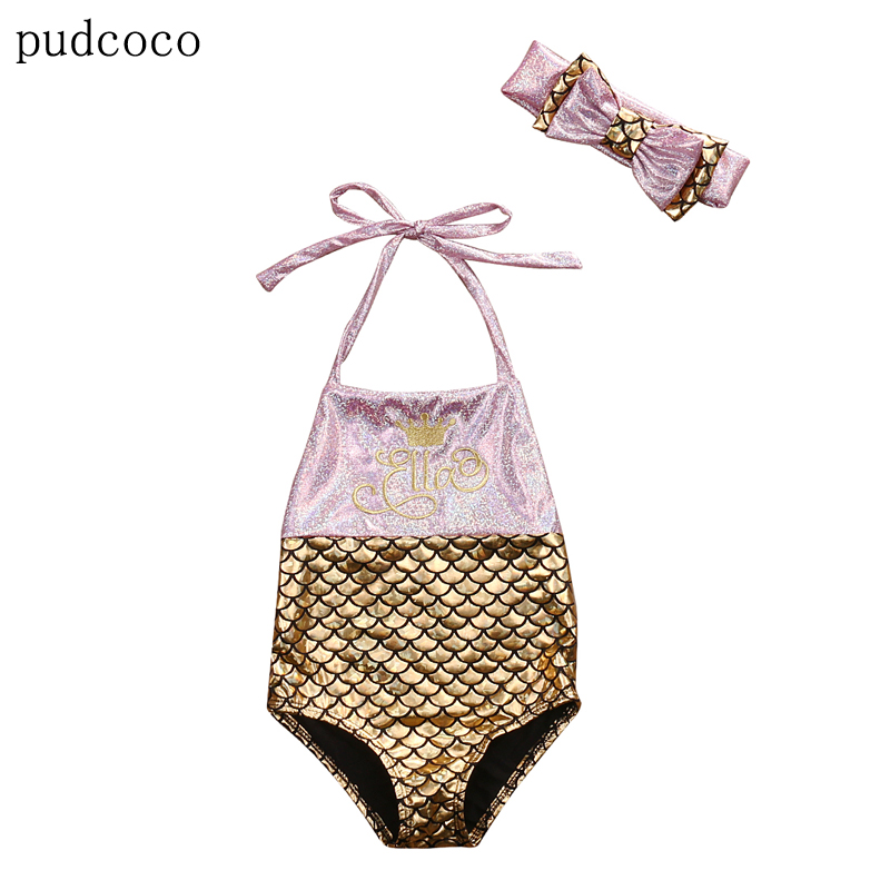 Toddler Girl Kid Baby Clothing Mermaid Swimwear Green Gold Sequins Bowknot Bikini Swimwear Bodysuit Swimsuit Baby Girls 0-3Y