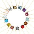 2016 new personality 14 glitter colors choker square dot necklace small cute shinny color pendant necklace for women