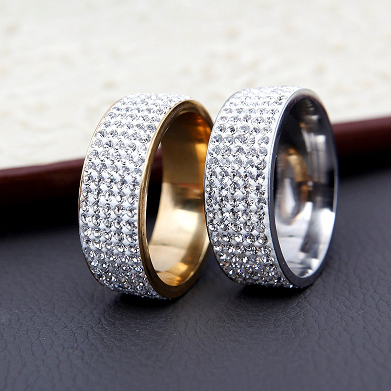 H:HYDE Silver Color/Gold Color 5 Row Lines Clear Crystal Jewelry Fashion Stainless Steel Engagement Wedding Rings For Women Gift