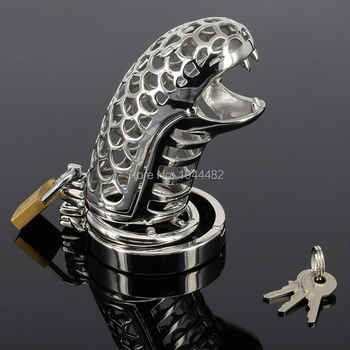 SODANDY Snake-shaped Chastity Device Steel Chastity Spikes Metal Cock Cage Chastity Belt Penis Ring Lock Cock Sex Toys Bondage - DISCOUNT ITEM  25 OFF Beauty & Health